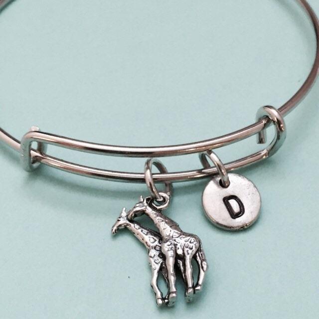 Giraffe Charm Bracelet: Giraffe Bangle Giraffe Charm Bracelet Expandable Bangle