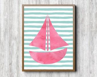 Watercolor Sailboat Printable Wall Decor - Nursery/ Girls Room Wall Art - Ship Art Print - Pink /Coral & Mint Green -Nautical Nursery