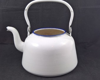 Kockum kettle Kockum enamel white teapot enamelware swedish kettle Swedish enamel Swedish design Kockums large kettle cottage
