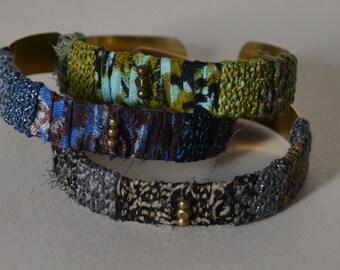 Bangle /Textile bracelets / Boho textile bangles / Textile jewellery / Boho style bracelet