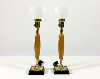 Vintage Wood Table Lamp / Brass Table Lamps / Pair Table Lamps / 1960s Lamp / Mid Century Modern Lamp