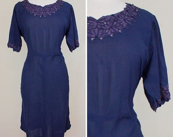 Midnight Blossoms Navy Chiffon and Purple Lace Dress | 1940s | Women's Size L