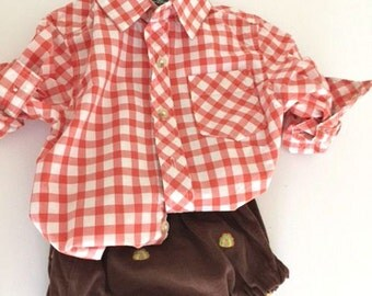 Fall baby bloomers/diaper cover in brown corduroy with turkeys  Thanksgiving   preppy baby