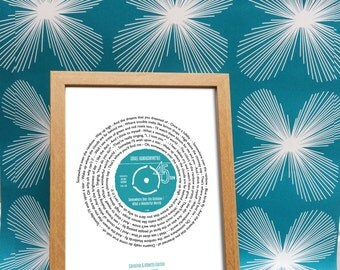 Personalised record - ANY SONG - framed print with MESSAGE - ideal gift for valentines day, wedding, birthday, christmas, anniversary, gift