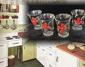 Estate Find!  Set of Four Vintage Hand Painted Floral Juice Glasses