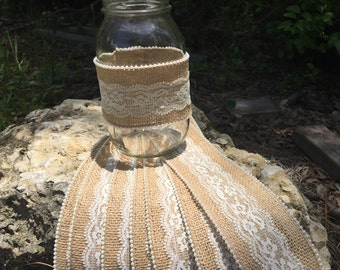 Rustic Burlap Mason Jar Wrap 5, 10, 15, 20, 25 YOUR CHOICE DESIGN