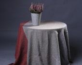 Linen Tablecloth, natural striped linen tablecloth