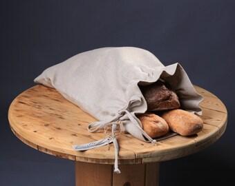 Natural Linen Bread Bag, Bread Bag, 100% Linen, Handmade bag, Reusable Bread Keeper, Linen bag, Natural linen bag