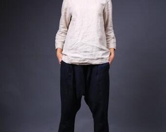 LINEN HAREM pants, Women trousers, Yoga pants, Leisure trousers
