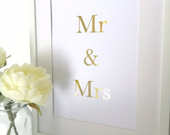 Gold foil print, wedding gift, romantic print, anniversary gift, wall art, foil art, foil print, art prints, valentines gift, wedding print