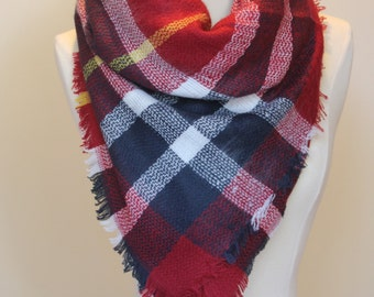 Sale!New Lady Blanket Oversized Tartan Scarf Wrap Shawl Plaid Multi Color – Red Navy Yellow Checked