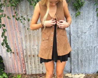 Tan Suede Leather 70s Button Up Vest!