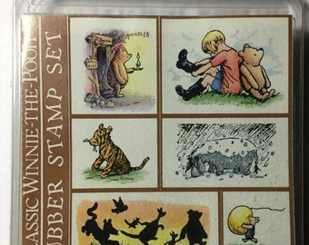 Vintage Classic Winnie-The-Pooh 6 Rubber Stamp Set