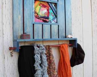 Scarf organizer with hand sewn quilt block center piece and jewelry shelf