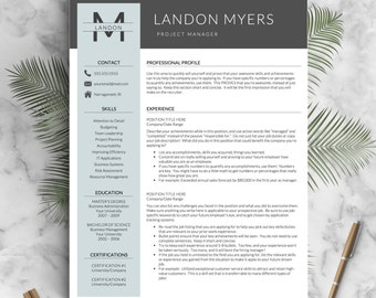 modern resume template for word and pages 1 2 3 page resumes cover letter icons creative resume template instant download cv