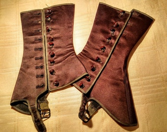 Antique Ladies Satin Spats, Brown Spats, Antique Shoe Covers, Victorian Spats