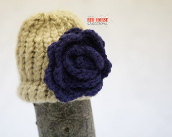 Tan Newborn Hat w/ Purple Flower