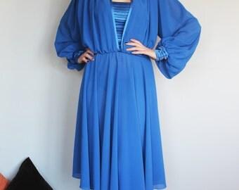 VTG 80s Royal Blue BLACKBERRY Dress