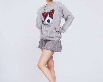 JACK RUSSELL | Grey sweatshirt with embroidered Jack Russell Terrier dog | Jack Russell gift