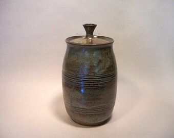 """Large stoneware pottery jar with lid, textured pattern in blue, green and brown  12x6"""""""