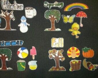 4 SEASONS-Felt Board Set // Flannel Board // Preschool // Teaching // Cognitive Skills // Calendar