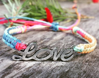 Hemp LOVE Bracelet - Made to Order - You Choose Color! Cursive Love Jewelry