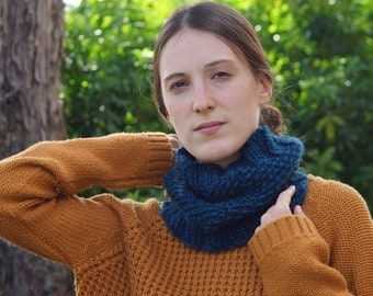 Blue cowl - Warm and cozy - Handknit