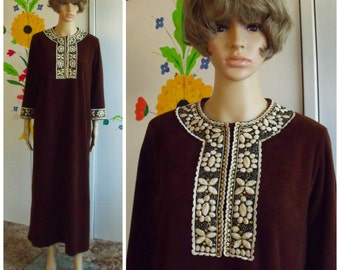 60's Robe/Lounger/Caftan/Brown Velour/Decorative Embroidered Collar and Cuffs/Vintage Robe/1960's