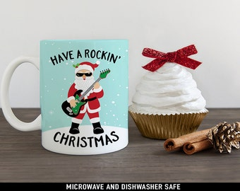 Christmas Coffee Mug Rockin' Santa Claus Playing Electric Guitar - Great Gift for Guitar or Music Lover