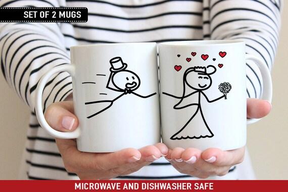 Coffee Mug Personalized Cute Stick Figure Couple Blowing Hearts Kisses Mug Set - Couple Cup Set