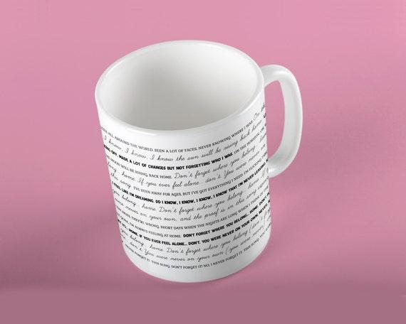 Coffee Mug Through The Dark Lyrics Mug - One Direction