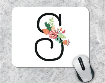 Monogram Mouse Pad, Initial Mouse Pad, Watercolor Mouse Mat, Swirl Mouse Pad, Floral Mousepad, Custom Mousepad, Wooden Mousepad, Customized