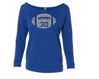 Football Mom Shirt.Glitter Football.Custom Football Shirt Off Shoulder Shirt. Footballmom. Lightweight Wideneck 3/4 Sleeve Shirt