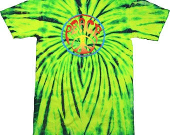 Psychedelic Peace Adult Tie Dye Tee T-Shirt PSYCHEDELIC-1000