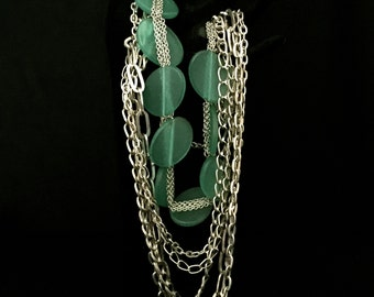 Multi-Chain and Turquoise Lucite Necklace              VG2083