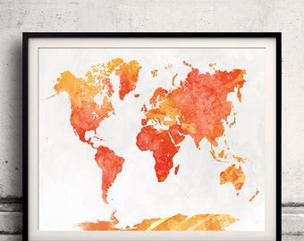 World map in watercolor 18 - Fine Art Print Glicee Poster Decor Home Gift Illustration Wall Art Countries Colorful - SKU 2129