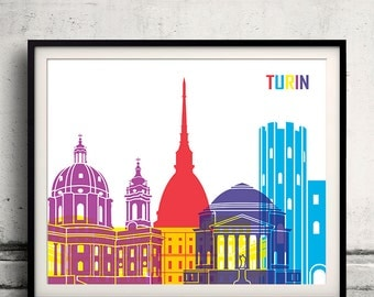 Turin pop art skyline 8x10 in. to 12x16 in. Fine Art Print Glicee Poster Gift Illustration Pop Art Colorful Landmarks - SKU 0701