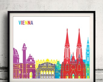 Vienna pop art skyline 8x10 in. to 12x16 in. Fine Art Print Glicee Poster Gift Illustration Pop Art Colorful Landmarks - SKU 0703