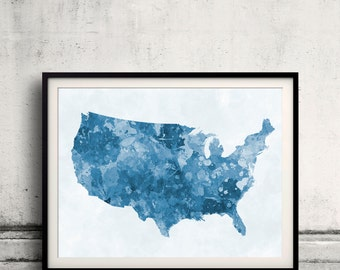 United States map in blue watercolor painting abstract splatters - Fine Art Print Glicee Poster Gift Illustration Colorful USA - SKU 0714