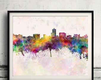 Toyama skyline in watercolor background - Poster Digital Wall art Illustration Print Art Decorative - SKU 1356