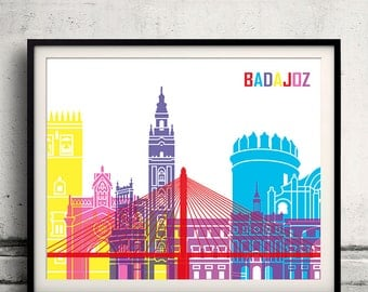 Badajoz skyline pop - Fine Art Print Glicee Poster Gift Illustration Pop Art Colorful Landmarks - SKU 1478
