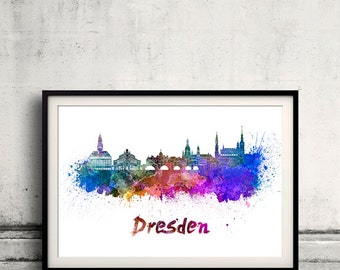 Dresden skyline in watercolor over white background with name of city - Poster Wall art Illustration Print - SKU 1558