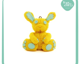 Polymer Clay Stuffed Bunny Charm – Cell Phone Charm