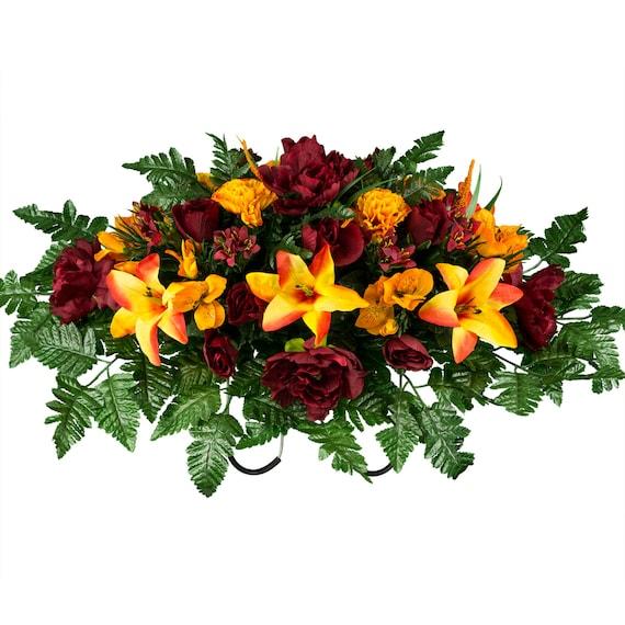 Silk Orange Fall Flowers: Burgundy And Orange Fall Mix Cemetery Saddle Arrangement
