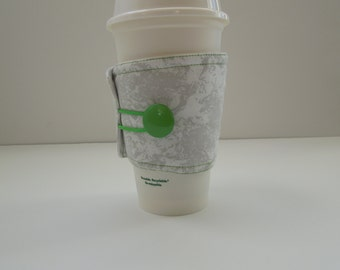 Coffee Cup Sleeve/Drink Sleeve- Reusable Insulated - Gray fabric with green accents