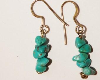 """Vintage Sterling Genuine Turquoise 1.40"""" Earrings."""