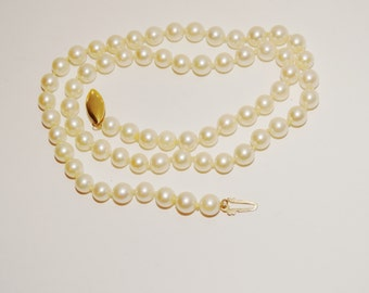"VGE 14k Yellow Gold 18"" Akoya Pearl Necklace."