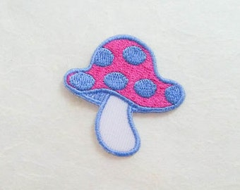 Mushroom Iron on Patch(S) - Pink&Blue Mushroom Applique Embroidered Iron on Patch #4-Size  4.2x4.1cm