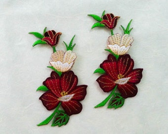 2 pcs  Dark Red, White, Gold  Embroidered Flower Patch  / Flower Patch /Embroidered Iron on Patch / Flower Applique Size 6.00x11.50cm