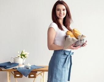 Blue Linen waist APRON - Half Apron - Chef Apron - Dusty blue apron